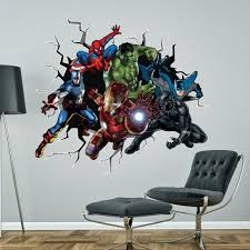 Superheroes Breaking Smashing Through Wall Sticker Boys Etsy Superhero Wall Superhero Wall Decals Superhero Wall Stickers