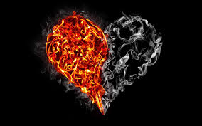تحميل خلفيات القلب النار الدخان الإبداعية خلفية سوداء عريضة