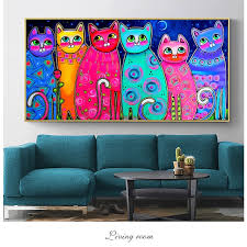 Colorful Cats Canvas Paintings For Kids Room Wall Posters And Prints Pop Art Decorative Canvas Prints Cuadros Picture Home Decor Painting Calligraphy Aliexpress