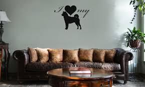 I Love My Akita Dog Silhouette Heart Vinyl Wall Mural Decal Home Decor Sticker