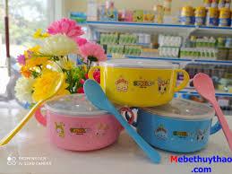 BÁT ĂN DẶM BẰNG INOX CÓ NẮP KÈM THÌA AN TOÀN CHO BÉ YÊU - Shop Mẹ và bé  Thuỷ Thảo
