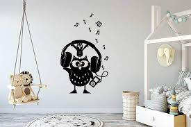 Amazon Com Wall Vinyl Sticker Owl Bird Animal Headphones Music Player Notes Nursery Kids Room Car Mural Decal Art Decor Lp2983 Handmade