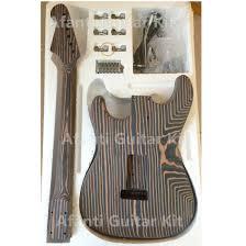 china strat guitar kit zebrawood build
