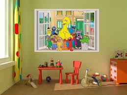 Self Adhesive Graphic Art Mural Sesame Street Elmo Oscar 3d Window View Decal Graphic Wall Sticker Art Mural 4 Stickers