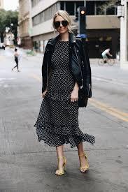white polka dot ruffled midi dress