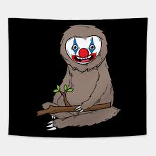 sloth wearing scary clown makeup cute