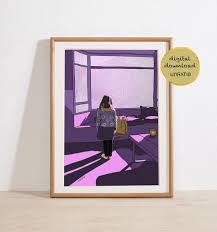 Vaporwave Purple Wall Art Digital Download Girls Bedroom Etsy