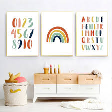 Pink Rainbow Prints Number Alphabet Canvas Painting Educational Posters Nursery Print Nordic Wall Art Pictures Kids Room Decor Painting Calligraphy Aliexpress