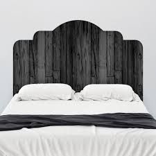 Black Stained Wood Adhesive Headboard Wall Decal Wallsneedlove Wood Headboard Headboard Wall Decal Adhesive Headboard