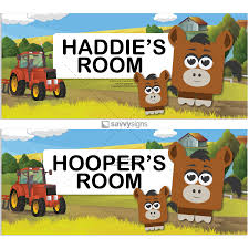 Kids Bedroom Door Sign Cubie Characters On A Country Farm