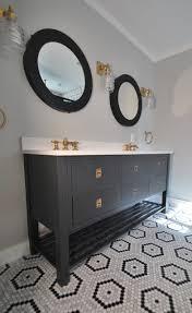 black open double vanity with round