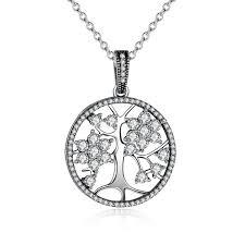 tree necklace silver with cz pandora