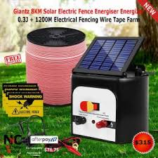 Giantz 8km Solar Electric Fence Energiser Energizer 0 3j 1200m Electrical Fencing Wire Tape Farm Nice N Cheap Variety Store