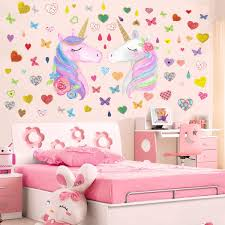Amazon Com Unicorn Wall Decor Removable Unicorn Wall Decals Stickers Decor For Gilrs Kids Bedroom Nursery Birthday Party Favor A 2pcs Unicorn Arts Crafts Sewing