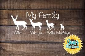 Deer Family Car Window Decal Country Decal With Names My Etsy