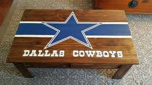 Dallas Cowboys Coffee Table Done In Palletwood English Oak Stain Hand Painted Decal And Letter Dallas Cowboys Decor Dallas Cowboys Room Dallas Cowboys Crafts