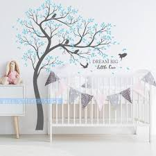 New Flying Bird Cherry Blossom Tree And Dream Big Little One Quotes Wall Decal Stickers For Kids Baby Nursery Decor Peel Stick Wish