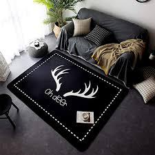 Amazon Com Yoha Black Velvet Soft Kids Play Mat Rug Non Slip Crawling Carpet Living Room Mats Area Rugs Home Decor 4 8 X 6 4 Deer Kitchen Dining