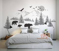 Pin By Dreamkidsdecal At Hotmail Co On Home Decor In 2020 Wall Stickers Mountains Bear Wall Decal Mountain Wall Decal