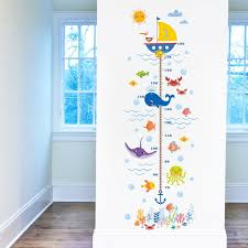Wallpark Underwater World Cartoon Seaweed Coral Shark Bubble Boat Height Sticker Growth Height Chart Measuring Removable Wall Decal Children Kids Baby Room Nursery Diy Decorative Wall Mural Baby B06y49w3bf