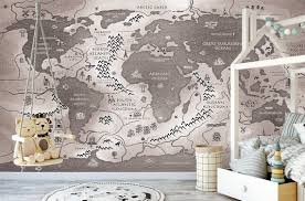 Nursery Wallpaper World Map Wallpaper Removable Peel And Stick Etsy