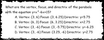 how to find vertex focus directrix of