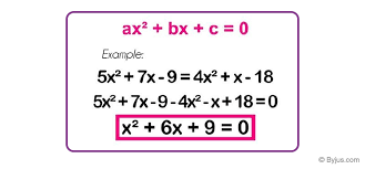 algebraic equations definition types