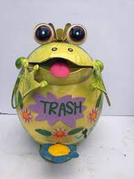 frog trash can animal garden statues