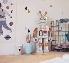 Kids Table Lamp Robot Mustard Grey L38cm H22cm Little Lights Kids Table Lamp Robot Themed Bedroom Table Lamp