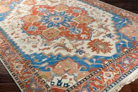 burnt orange sky blue area rug