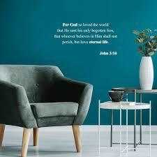 Amazon Com Vinyl Wall Art Decal For God So Loved The World John 3 16 11 X 22 Modern Inspirational Religious Quote For Home Bedroom Office Workplace Church Decoration Sticker Home Kitchen