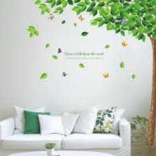 Ebern Designs Green Falling Leaves Wall Decal Reviews Wayfair