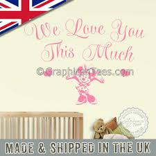 Minnie Mouse Nursery Wall Stickers We Love You This Much Bedroom Wall Quote Decor Decal