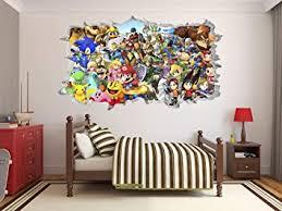 Amazon Com Super Smash Bros Wall Decal 3d Sticker Vinyl Decor Mural Kids Mario Bros 22 W X 12 H Baby
