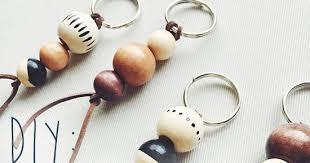 diy wooden bead keychain