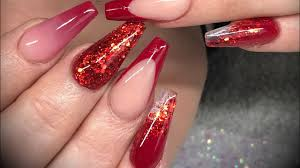acrylic nails red design set you