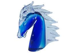 murano glass horse head cobalt italian