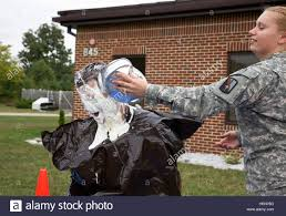 U.S. Army Spc. Abigail Graham hits 1st Lt. Justin Weis in the face Stock  Photo - Alamy