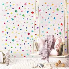 Amazon Com Decalmile Rainbow Polka Dot And Star Wall Stickers Kids Room Wall Decor Baby Nursery Childrens Bedroom Playroom Wall Art 2 Pack Home Kitchen