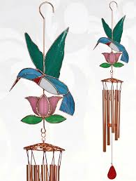 pink flower stained glass windchime