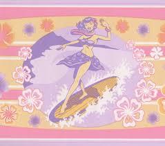 windsurfing woman pink retro wallpaper