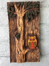 Owl Plaque Owl Wall Hanging Kitsch Cabin Cottage Decor Mod Owl Etsy