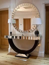quartz black mirrored console table the