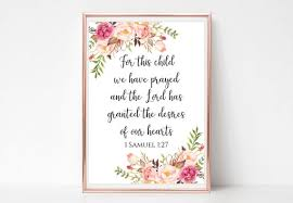 For This Child We Have Prayed Sign Printable 1 Samuel 1 27 Etsy