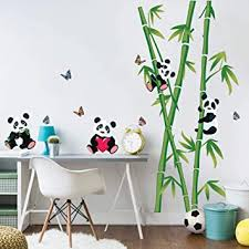Amazon Com Decalmile Bamboo And Panda Bear Wall Decor Kids Room Wall Decals Baby Nursery Bedroom Living Room Wall Art Stickers H 43 3 Inches Kitchen Dining