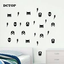 Nursery Vinyl Decal 32 Super Hero Batman Mask Removable Wall Stickers For Kids