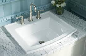white drop in rectangular bathroom sink