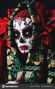 mens sugar skull face paint close