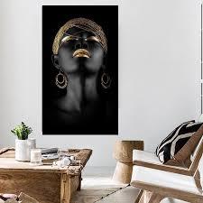 Gold Lips Black Woman Canvas Art Uniquely Living