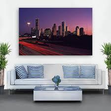 Houston Blue Red Sunset Skyline Wall Art Zapwalls